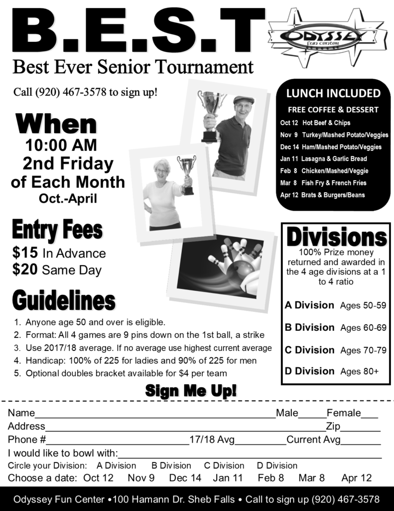 Senior BEST Tournament | Senior Tournaments | Odyssey Fun Center | Sheboygan Falls WI