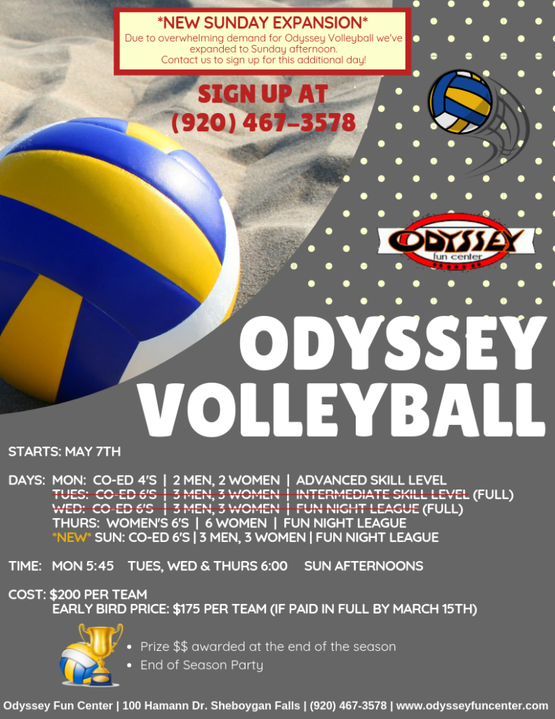 Volleyball Leagues | Summer Volleyball | Sand Volleyball | Odyssey Fun Center | Sheboygan Falls WI