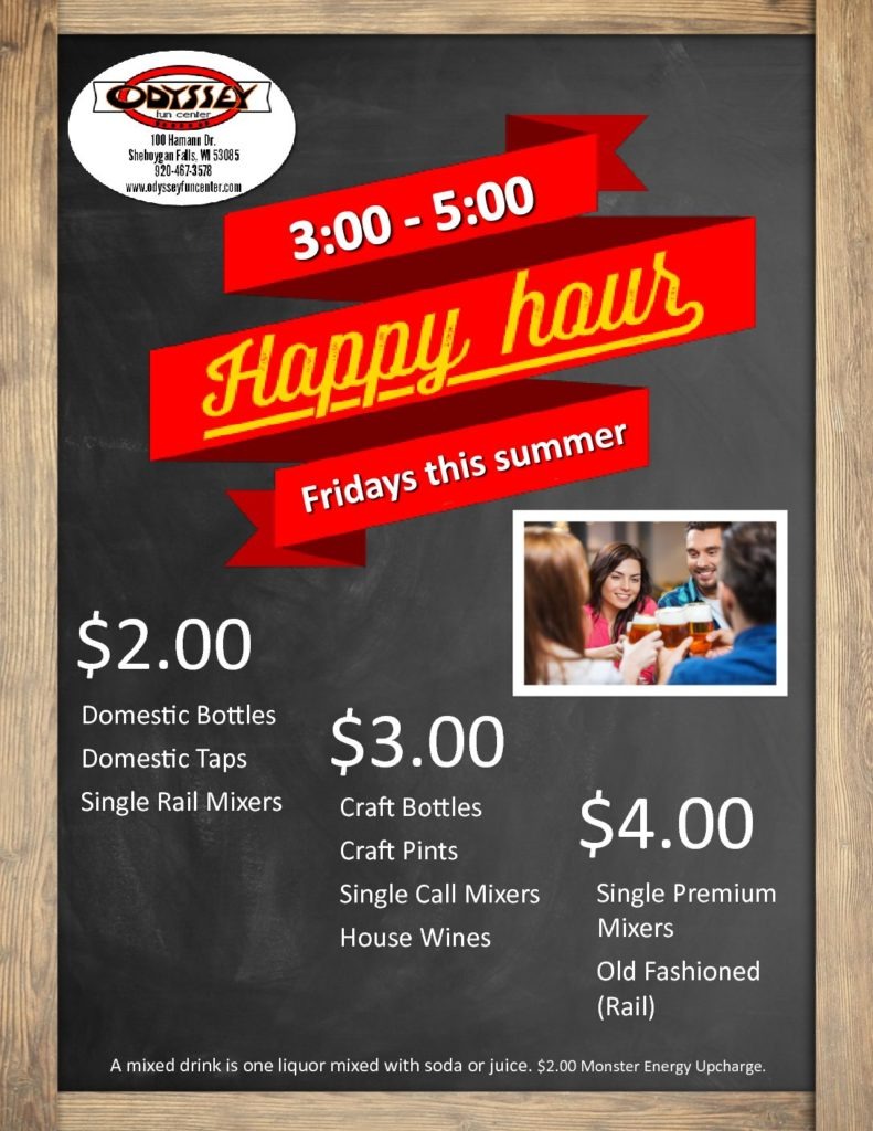 Happy Hour Specials | Odyssey Fun Center | Sheboygan Falls WI