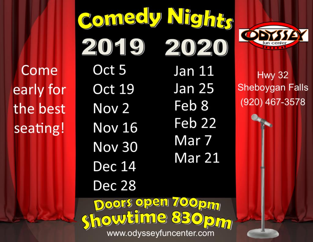 Comedy Club Nights 2019 and 2020 | Odyssey Fun Center | Sheboygan Falls WI