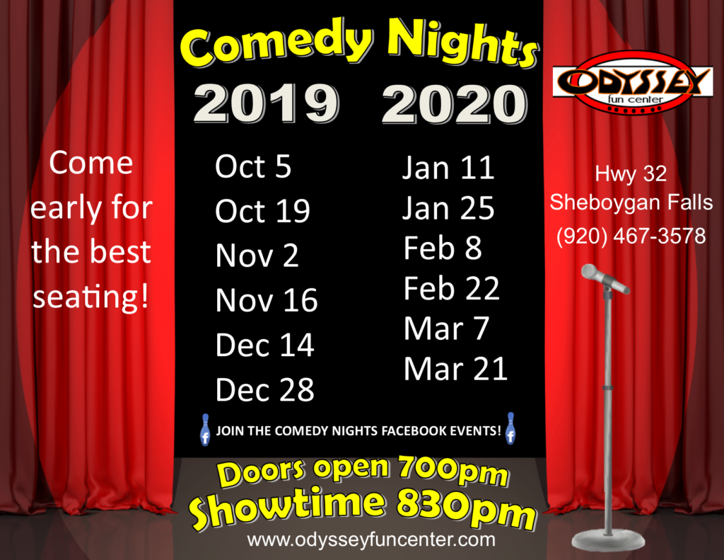 Comedy Club Nights 2019 and 2020 | Odyssey Fun Center | Sheboygan Falls WI