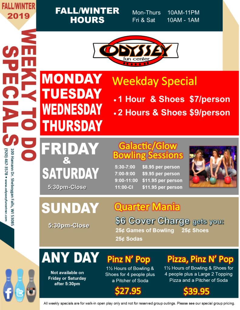 Daily Deals Specials | Odyssey Fun Center | Sheboygan Falls WI