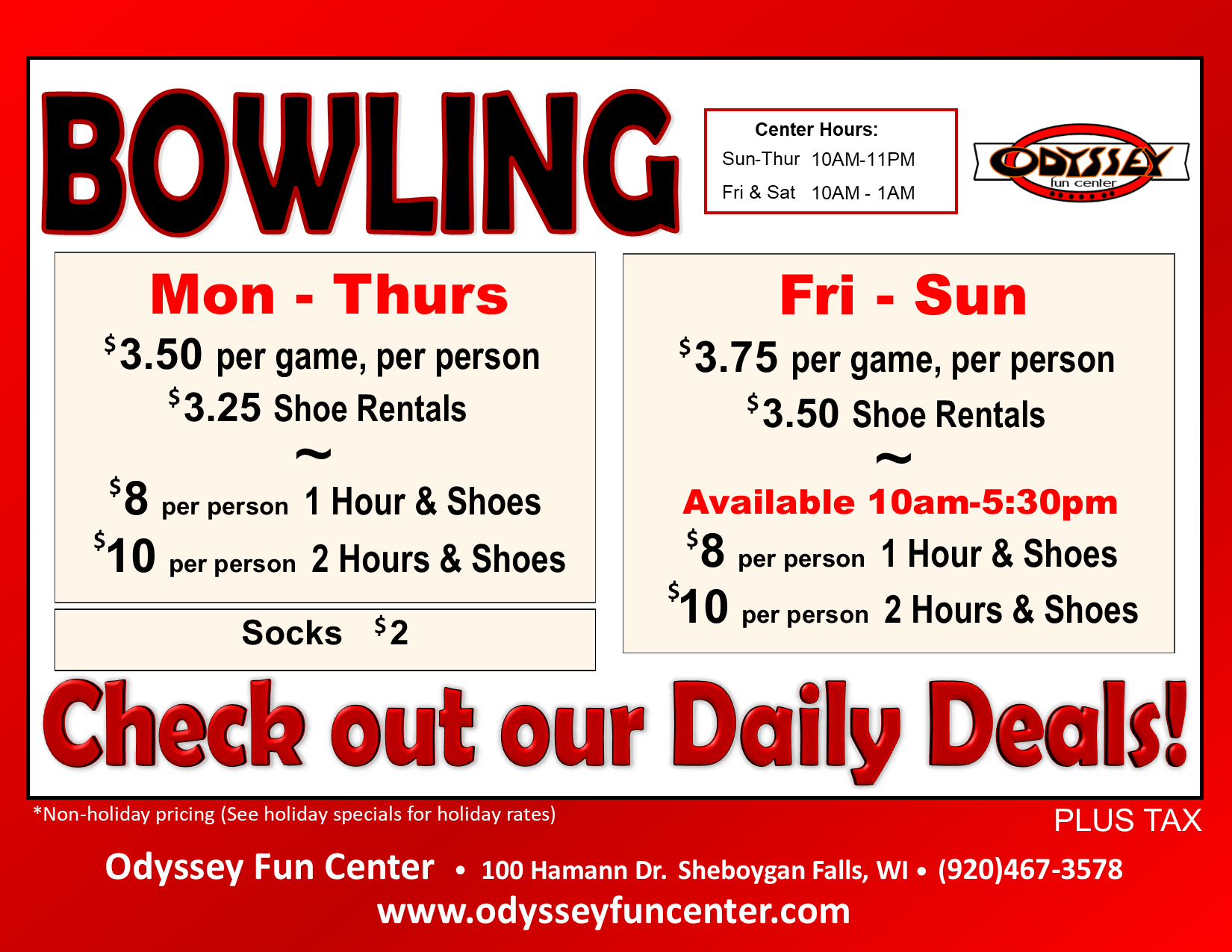 open bowling | open play | daytime bowling | night-time bowling | standard bowling rates | per person bowling rates | shoe rental rates | February 2020 | odyssey fun center | sheboygan, wi