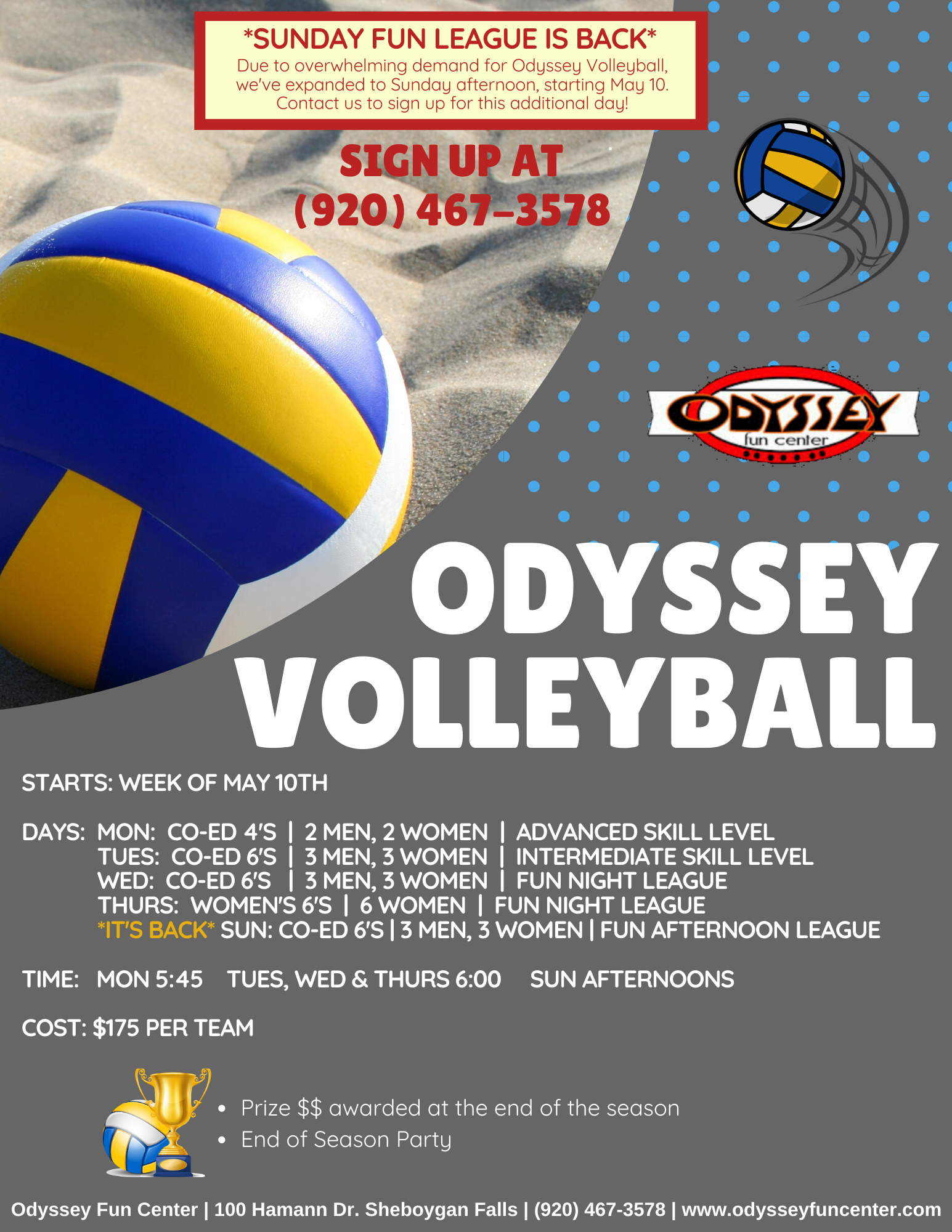 odyssey volleyball leagues 2020 | summer volleyball at odyssey fun center | competitive volleyball leagues | casual volleyball leagues | odyssey fun center | sheboygan, wi