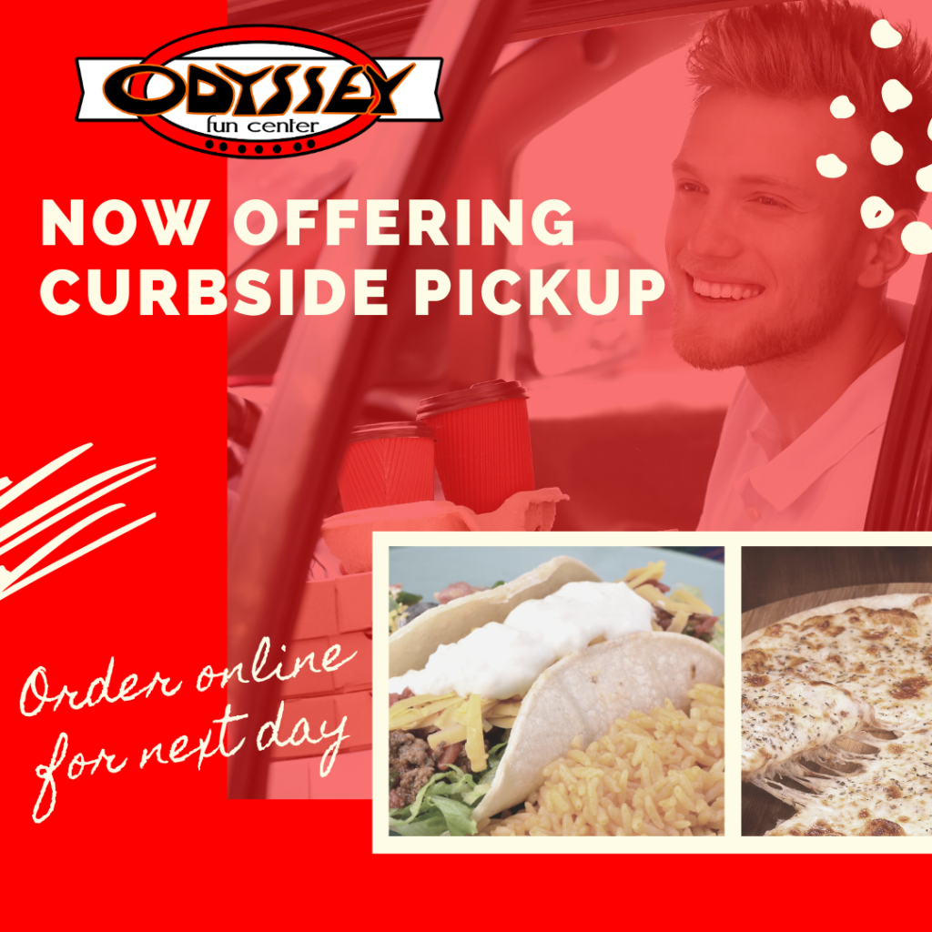 curbside pickup | online order | what's available for online food orders | odyssey now offering curbside | odyssey fun center | sheboygan, wi