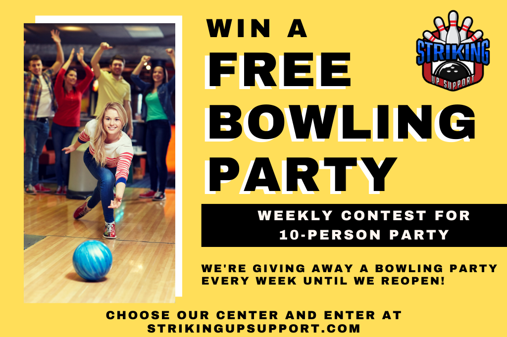 win a bowling party for when we reopen | free bowling contest | striking up support during corona | odyssey fun center | sheboygan, wi