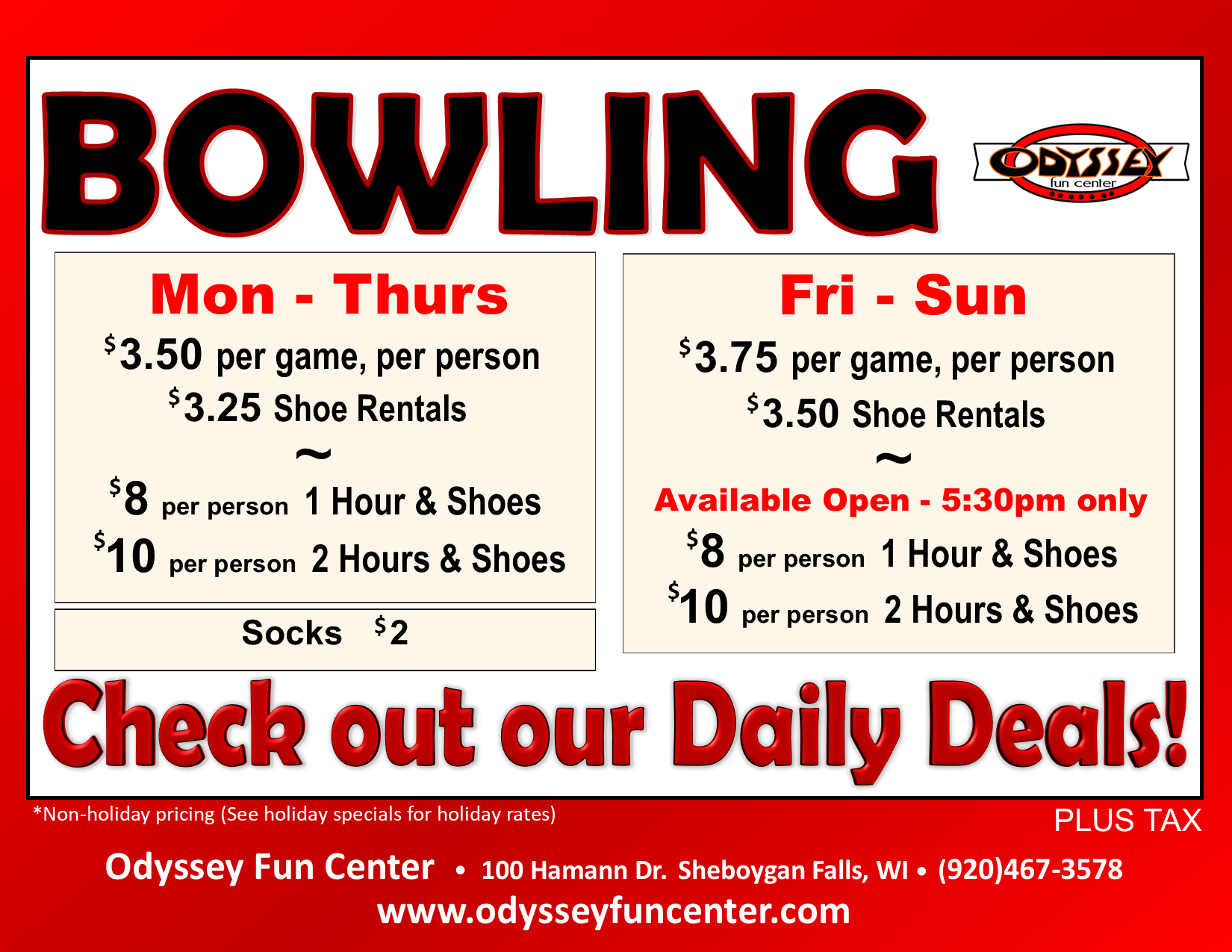 Open Bowling Pricing | Odyssey Fun Center | Sheboygan WI