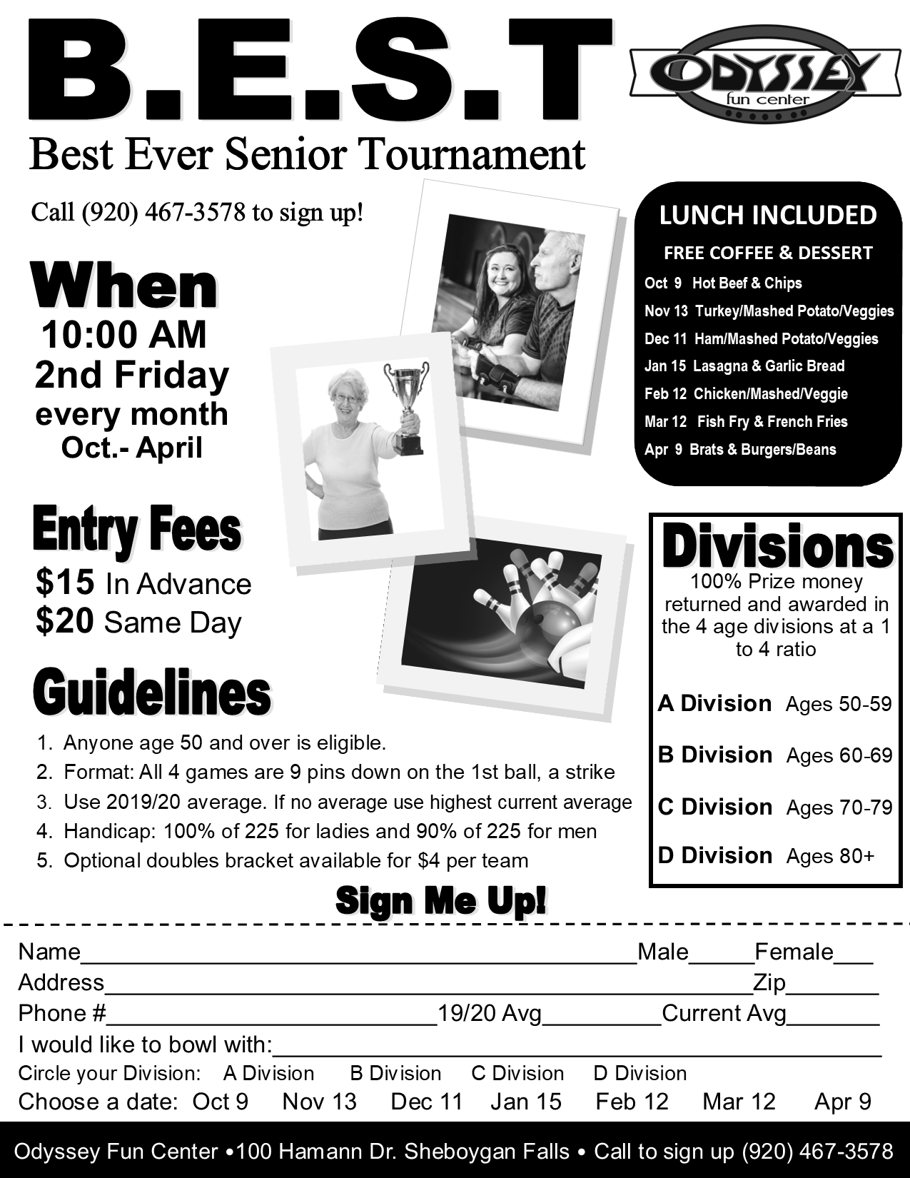 best senior tournament | senior bowling tournament | odyssey bowling tournaments | fall 2020 - winter 2021 bowling tournaments | odyssey fun center | sheboygan, wi