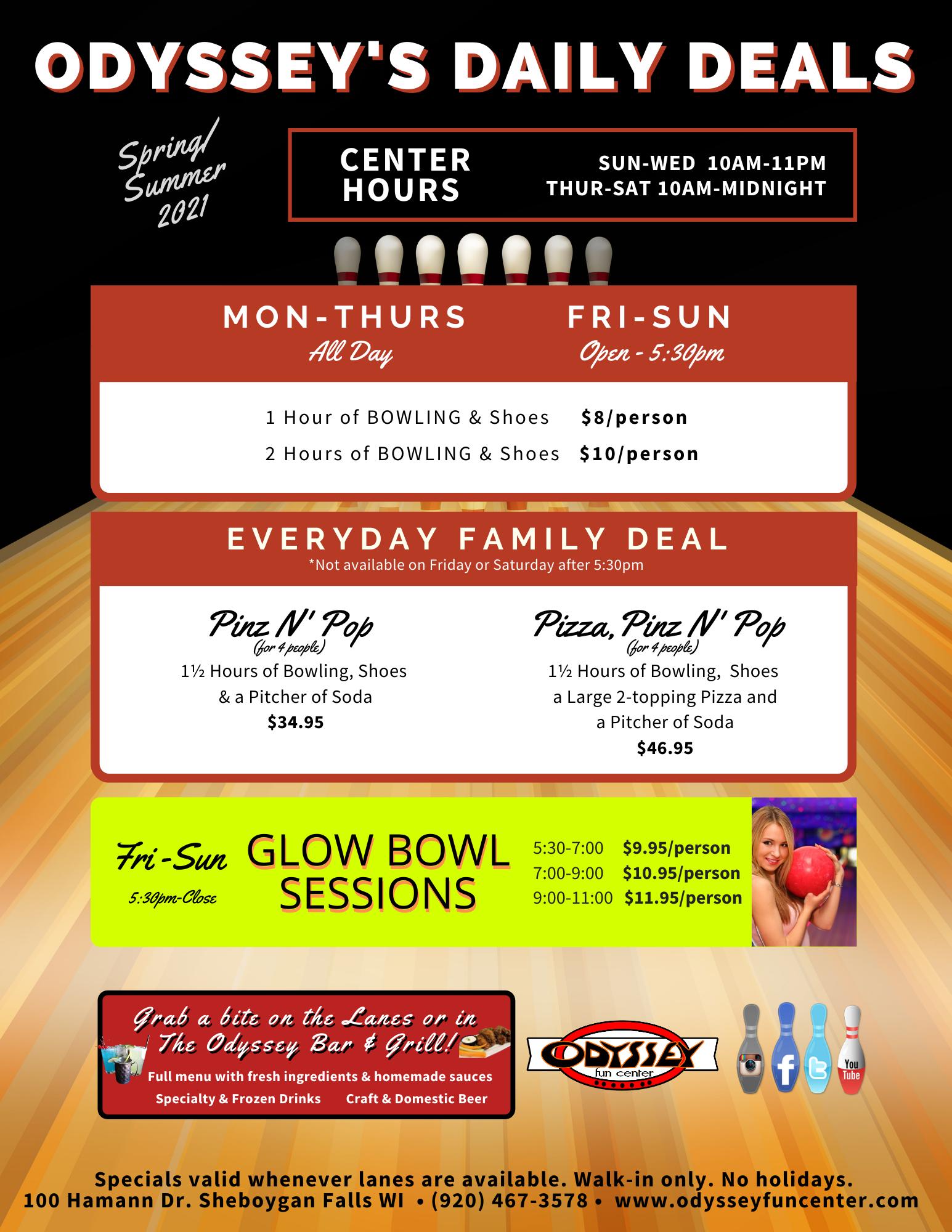 spring 2021 daily deals | bowling promotions | daily bowling savings | odyssey fun center | sheboygan falls, wi