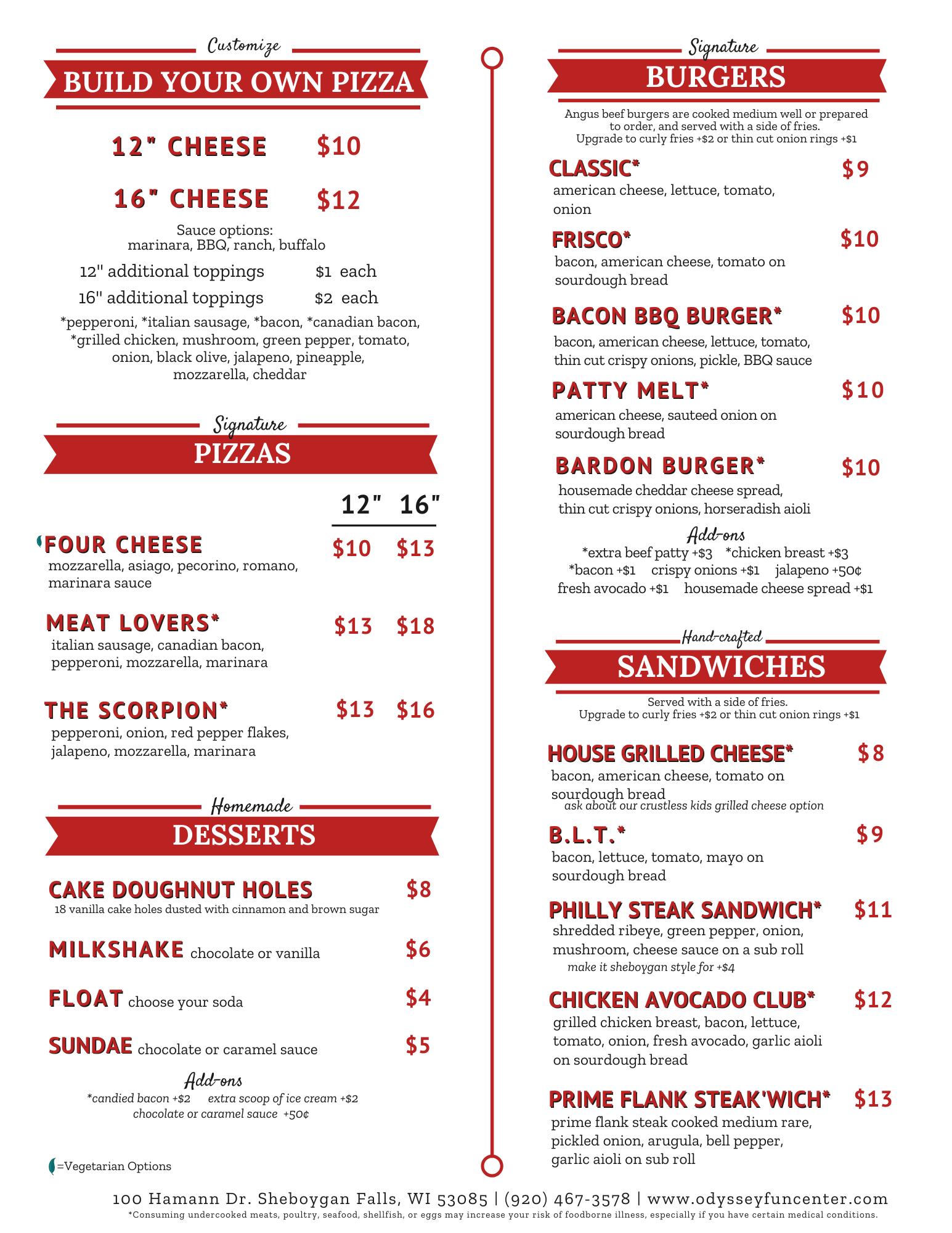 Odyssey Bar and Grill | Pizzas | Sandwiches | Desserts | Sheboygan WI