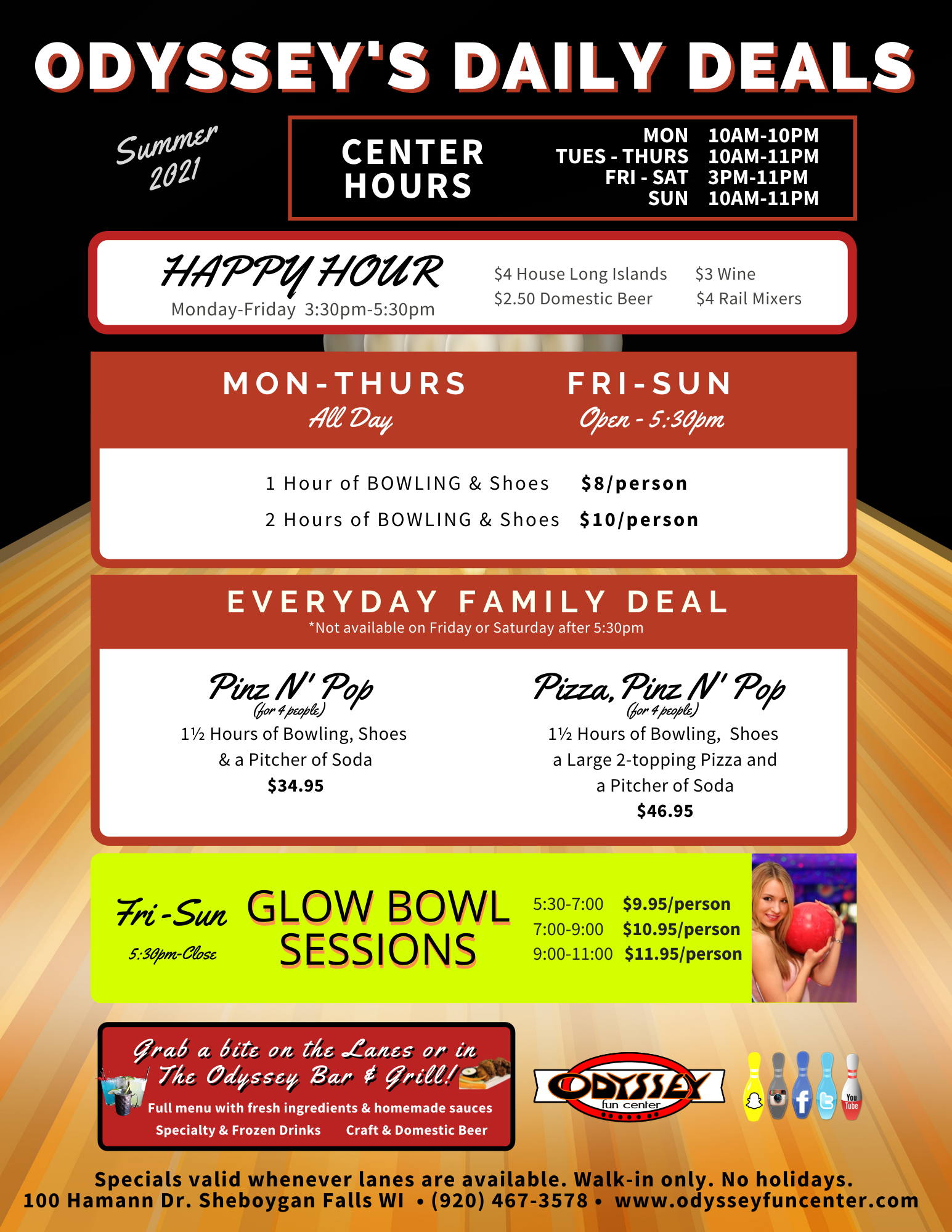 summer 2021 daily deals   bowling promotions   daily bowling savings   odyssey fun center   sheboygan falls, wi