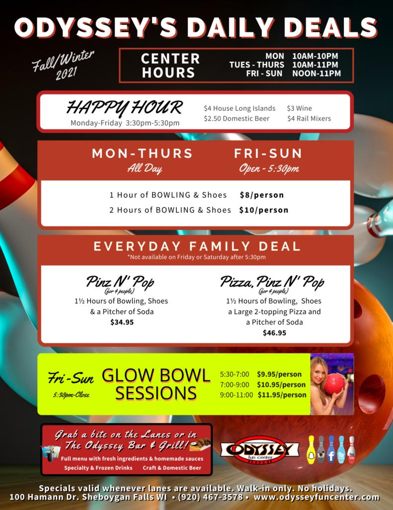 Daily Deals   Odyssey Fun Center   Sheboygan WI